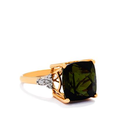 GREEN TOURMALINE AND DIAMOND 18K GOLD RING 8.39CTS