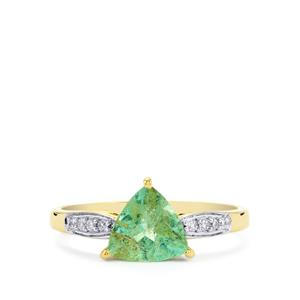 Paraiba Tourmaline & Diamond 14K Gold Tomas Rae Ring ATGW 1.36cts