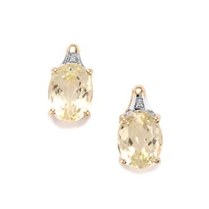 Minas Novas Hiddenite Earrings with Diamond in 10K Gold 5cts