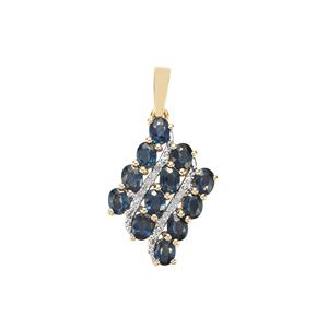 Natural Nigerian Sapphire Pendant with Diamond in 10K Gold 1.83cts