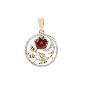 Mahenge Garnet in Rose Pendant in 9K Gold 1.03cts