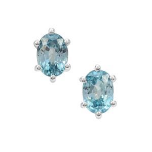 Ratanakiri Blue Zircon Earrings in Sterling Silver 2.50cts
