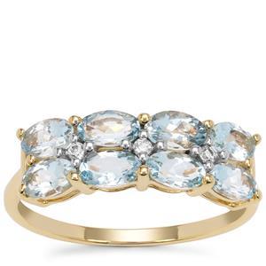 Santa Maria Aquamarine Ring with White Zircon in 9K Gold 1.60cts