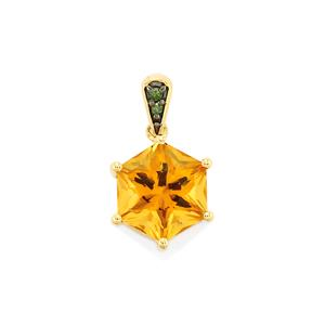 Rio Golden Citrine Polaris Pendant with Green Diamond in 9K Gold 2.36cts