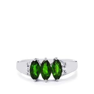 Chrome Diopside Ring with White Zircon in Sterling Silver 1.30cts