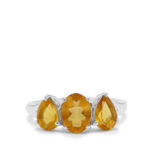 Burmese Amber & White Zircon Sterling Silver Ring ATGW 0.93ct
