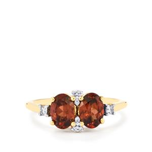 Zanzibar Zircon Ring with Diamond in 18k Gold 2.38cts
