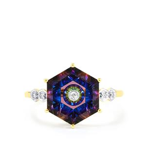 Lehrer TorusRing Mystic Topaz Ring with Diamond in 10K Gold 4.16cts