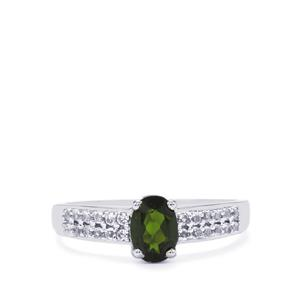 Chrome Diopside Ring with White Topaz in Sterling Silver 1cts