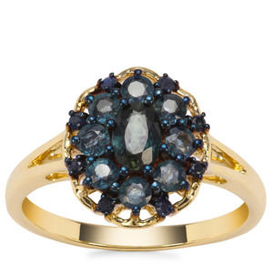 Natural Nigerian Blue Sapphire Ring with Ceylon Blue Sapphire in 9K Gold 1.24cts