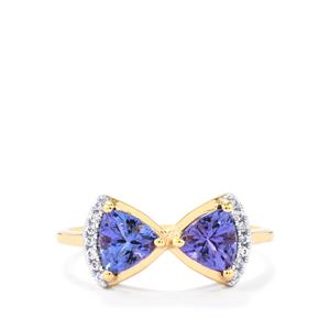 AA Tanzanite Ring with White Zircon in 10k Gold 1.22cts