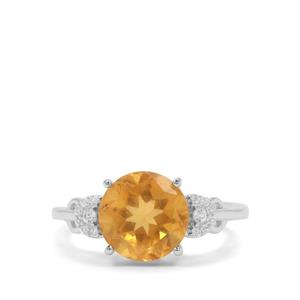 Burmese Amber Ring with White Zircon in Sterling Silver 1.29cts