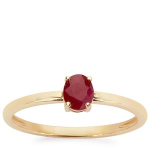0.49ct Burmese Ruby 9K Gold Ring