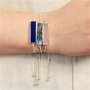 Rose Quartz Slider Bracelet in Sterling Silver 10.40cts