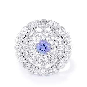 AA Tanzanite & White Topaz Sterling Silver Ring ATGW 1.52cts