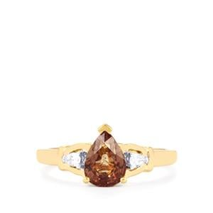 Bekily Color Change Garnet Ring with Diamond in 18k Gold 1.54cts
