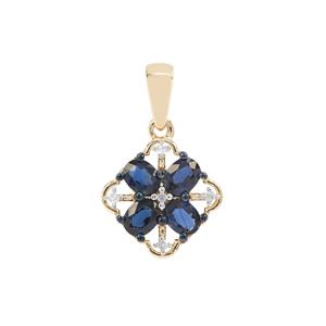 Nigerian Blue Sapphire Pendant with Diamond in 9K Gold 1.37cts
