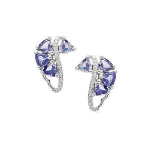 AA Tanzanite Earrings with White Zircon in Sterling Silver 2.18cts