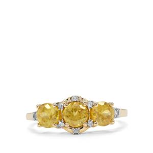 Ambilobe Sphene & Diamond 9K Gold Ring ATGW 1.82cts