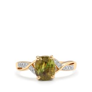 Ambilobe Sphene Ring with Diamond in 18K Gold 2.21cts
