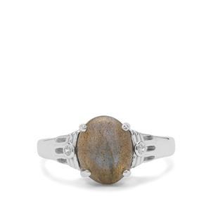 Labradorite & White Zircon Sterling Silver Ring ATGW 3.15cts