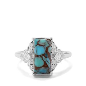 Egyptian Turquoise & White Zircon Sterling Silver Ring ATGW 2.62cts