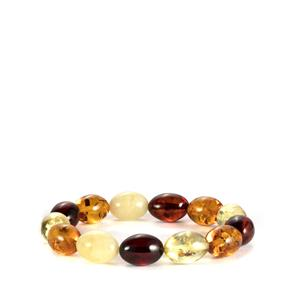 Baltic Cognac, Champagne, Cherry & Butterscotch Amber Elasticated Bracelet