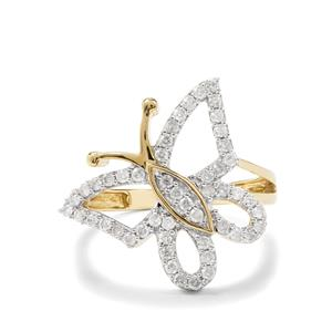 1/2ct Diamond 9K Gold Butterfly Design Ring