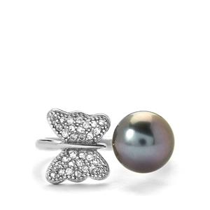 Tahitian Cultured Pearl & White Topaz Sterling Silver Ring