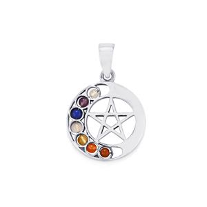 0.95ct Sterling Silver Gemstone Chakra Star Pendant