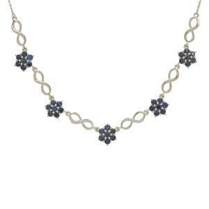 Australian Blue Sapphire Necklace with White Zircon in 9K Gold 2.90cts