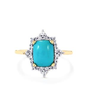 Sleeping Beauty Turquoise Ring with White Zircon in 9K Gold 2.34cts