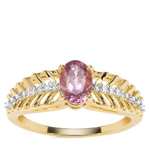 Mahenge Pink Spinel Ring with Diamond in 9K Gold 0.82ct