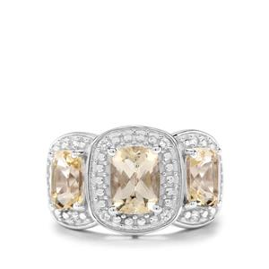 Serenite & White Zircon Sterling Silver Ring ATGW 3.20cts
