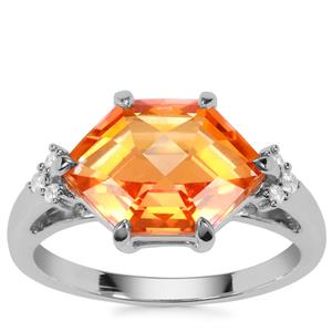 Padparadscha Colour Quartz Ring with White  Zircon in Sterling Silver 3.96cts