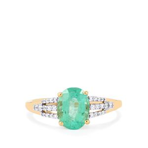 Ethiopian Emerald Ring with Diamond in 18k Gold 1.98cts