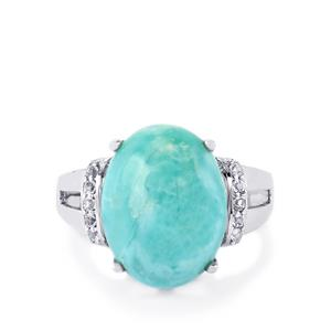 Larimar Ring with White Topaz in Sterling Silver 10.39cts