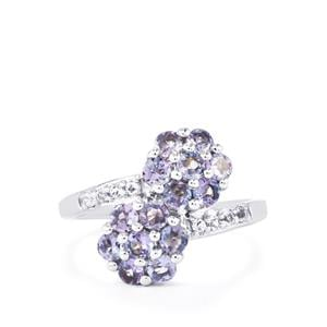 Tanzanite & White Topaz Sterling Silver Ring ATGW 1.48cts