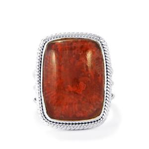 15ct Fossil Red Coral Sterling Silver Aryonna Ring
