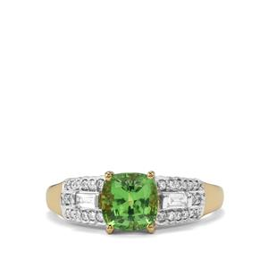 Tsavorite Garnet Ring with Diamond in 18k Gold 1.60cts