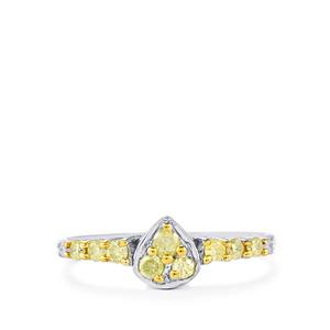 1/3ct Natural Yellow & White Diamond Sterling Silver Ring