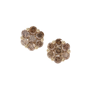 Champagne Diamond Earrings in 9K Gold 1.07cts