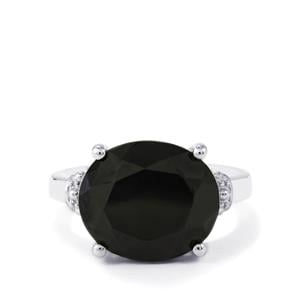 Black Spinel Ring in Sterling Silver 6.20cts