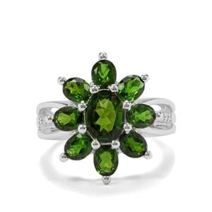 Chrome Diopside & White Zircon Sterling Silver Ring ATGW 3.55cts