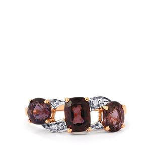 Burmese Spinel Ring with Diamond in 10k Rose Gold 2.68cts