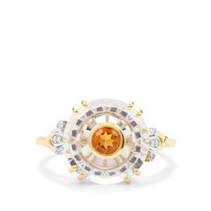 Lehrer Iris White Quartz, Madeira Citrine Ring with Diamond in 10K Gold 3.98cts