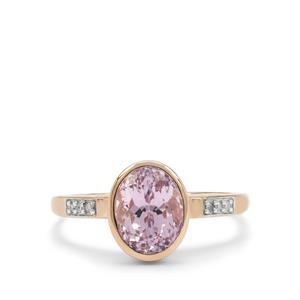 Kolum Kunzite Ring with Diamond in 9K Rose Gold 2.60cts