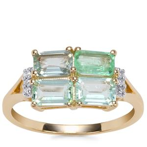 Paraiba Tourmaline Ring with Diamond in 10K Gold 1.52cts