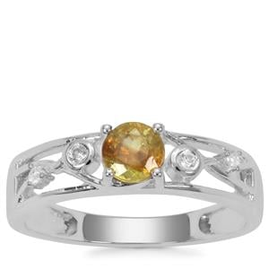 Morafeno Sphene Ring with White Zircon in Sterling Silver 0.65ct