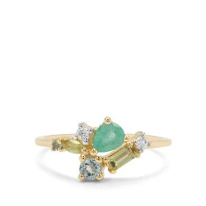 0.75ct Kaleidoscope Gemstone 9K Gold Ring